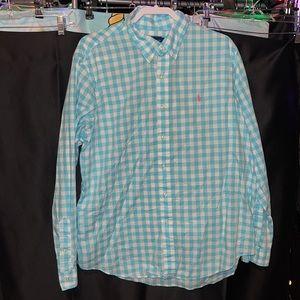 Ralph Lauren Baby Blue and White Button Down Shirt